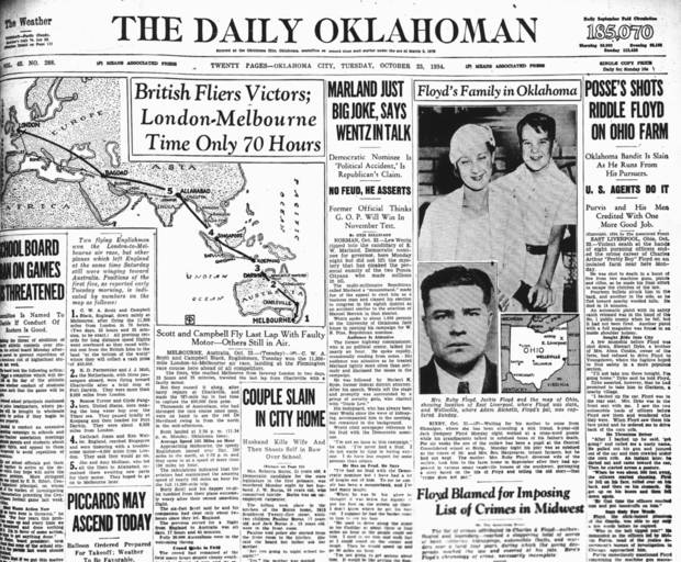 "The shooting death of career criminal Charles Arthur ""Pretty Boy"" Floyd is not played up very much on the front page of the City Edition of the Tuesday, October 23, 1934 Daily Oklahoman. 