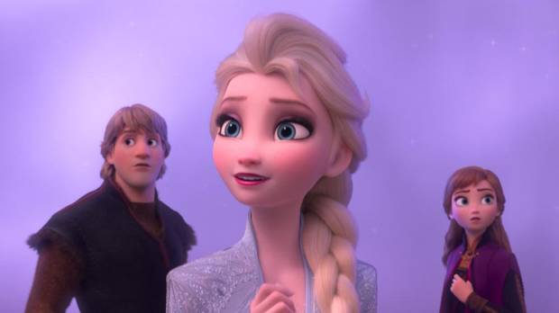 "From left, Kristoff (Jonathan Groff), Elsa (Idina Menzel) and Anna (Kristen Bell) journey far beyond the gates of Arendelle in ""Frozen II."" [Disney]"