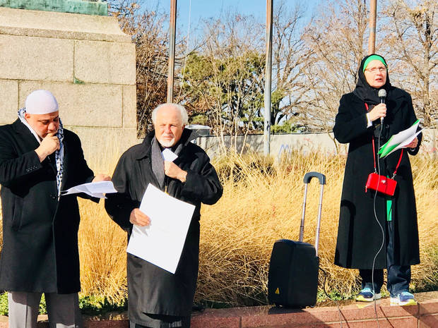 "Imad Enchassi, senior imam of the Islamic Society of Greater Oklahoma City; the Rev. Constantine Nasr, an Antiochian Orthodox Christian priest born in Jerusalem; and Sheryl Siddiqui, spokeswoman for the Islamic Council of Oklahoma, prepare to speak at the ""Jerusalem: Palestine's Forever Capital"" rally on Saturday, Dec. 16, at the State Capitol. [Photo by Carla Hinton, The Oklahoman]"