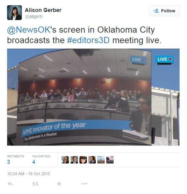 A screen shot from Twitter user Alison Gerber from Dave Morris' presentation. It shows a live shot of the downtown big screen in Oklahoma City, which is displaying the crowd in Palo Alto, Calif. https://twitter.com/aligerb/status/655796595951185921