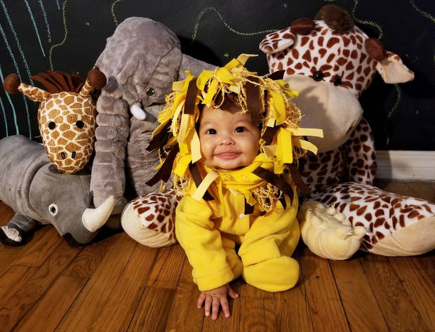 Eliza Taylor, 7 months, dressed in one of her 31 Halloween costumes. (Photo provided)