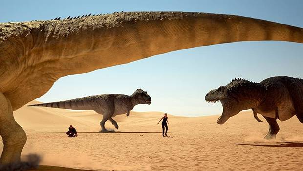 "Dinosaurs roam in a scene from Oklahoma filmmaker Ryan Bellgardt's 2018 action vehicle ""The Jurassic Games."" [High Octane Pictures photo]"