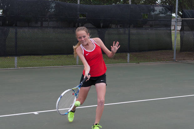 Haylee Harris made an impression on the tennis court as a junior at Westmoore High School while keeping up a 4.0 GPA in the past year. Photo provided.