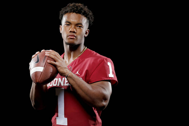 Oklahoma's Kyler Murray poses for a photo during the University of Oklahoma's media football day at Gaylord Family -Oklahoma Memorial Stadium in Norman, Okla., Sunday, July 22, 2018. Photo by Bryan Terry, The Oklahoman