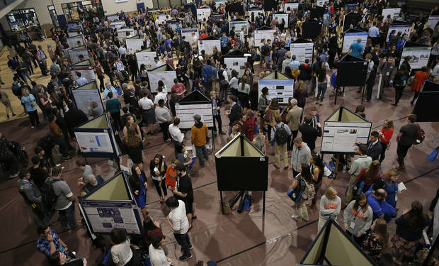 Students present their research during the 2018 National Conference on Undergraduate Research at the University of Central Oklahoma in Edmond. [Photo by Sarah Phipps, The Oklahoman]