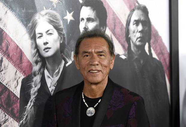 "Wes Studi arrives at the premiere of ""Hostiles"" at the Samuel Goldwyn Theater on Thursday, Dec. 14, 2017, in Beverly Hills, Calif. [Photo by Chris Pizzello/Invision/AP]"
