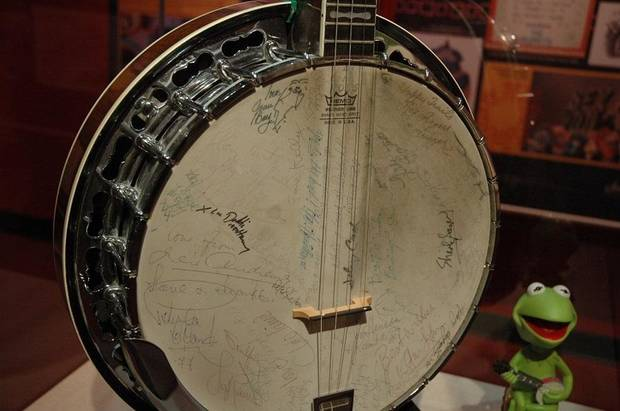 "The ""Muppets Banjo,"" which was signed by many of the guests on ""The Muppet Show,"" is on view in the exhibit ""Jim Henson - Life and Legacy"" at the American Banjo Museum. [Photo provided]"