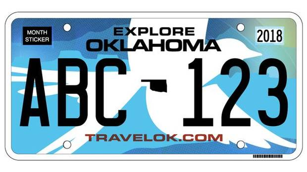 This image shows Oklahoma's new license plate, which features a scissor-tailed flycatcher against a blue background.