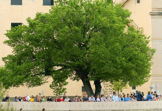 In this 2005 photo, people gather under the Survivor Tree during a ceremony marking the 10th anniversary of the Alfred P. Murrah Federal Building bombing. The tree is on the grounds of the Oklahoma City National Memorial in downtown Oklahoma City. [Oklahoman Archives]