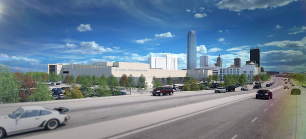 This rendering by POPULOUS of the east side of the convention center facing E.K. Gaylord shows the proximity to the Faifield Inn, which is the white building between the convention center and the Devon tower in the foreground.