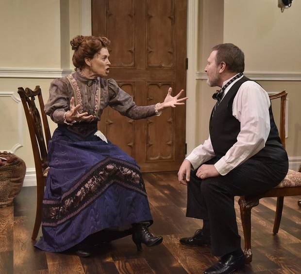 "Steven Emerson and Stacey Logan star in Oklahoma City Repertory Theatre's Oklahoma premiere production of ""A Doll's House, Part 2."" [Mutz Photography]"