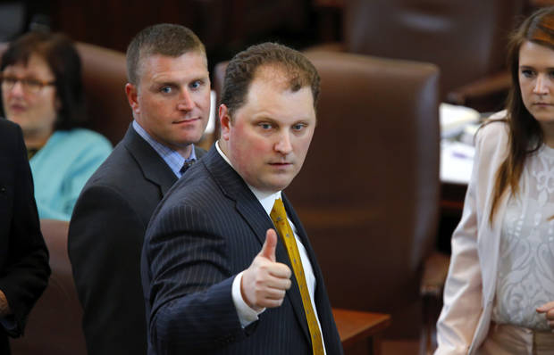 "State Rep. Jon Echols signals a ""thumbs up"" to a fellow lawmaker late in the 2016 regular session. Photo by Jim Beckel, The Oklahoman Archives"