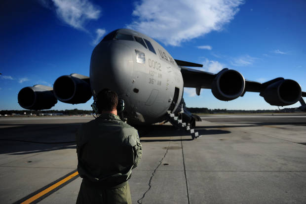 A C-17 Globemaster III is prepared before low level and aerial refueling training. [JAMES RICHARDSON/U.S. AIR FORCE]
