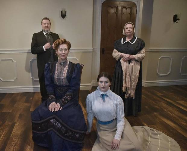 "From left, Steven Emerson, Stacey Logan, Avery Carlson and Pam Dougherty star in Oklahoma City Repertory Theatre's Oklahoma premiere production of ""A Doll's House, Part 2."" [Mutz Photography]"