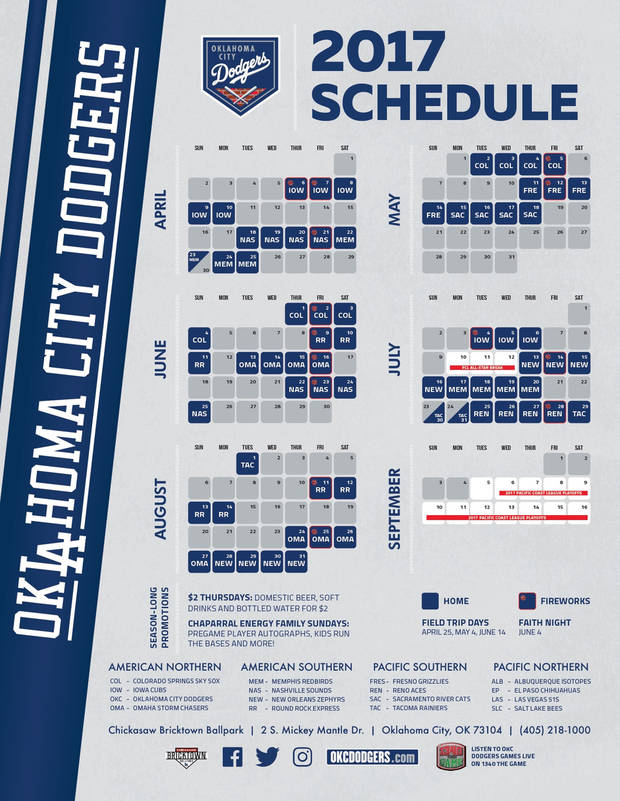 graphic regarding Dodger Schedule Printable titled OKC Dodgers announce 2017 dwelling timetable
