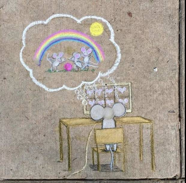 Oklahoma City artist Nicole Poole creates chalk messages and drawings in Edgemere Park. [Photo provided]
