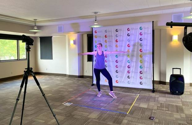 Dance Teaching Artist Samantha Russel films an art class at the Arts Council Oklahoma City offices. [Photo provided]