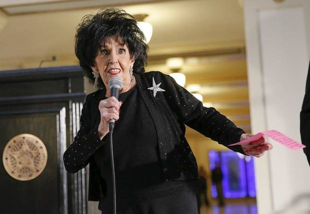 Wanda Jackson, recipient of the Oklahoma Cultural Treasure Award, does a quick dance move while speaking during the Governor's Arts Awards at the state Capitol in Oklahoma City, Wednesday, Feb. 28, 2018. Photo by Nate Billings, The Oklahoman Archives