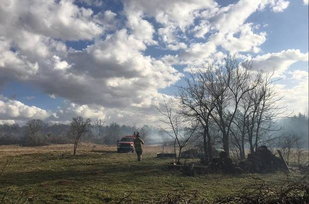 Oklahoma City fire crews fought a wild fire near SE 149 and Hiwassee Road Wednesday afternoon. Officials said the fire burned about 10 acres. [Photo provided by the Oklahoma City Fire Department]