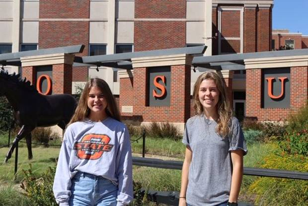 Abigail Staudt, left, of Guthrie, and Grace Voth of Enid also received Positive Energy Scholarships from the OGE Energy Corp. Foundation. [PROVIDED}