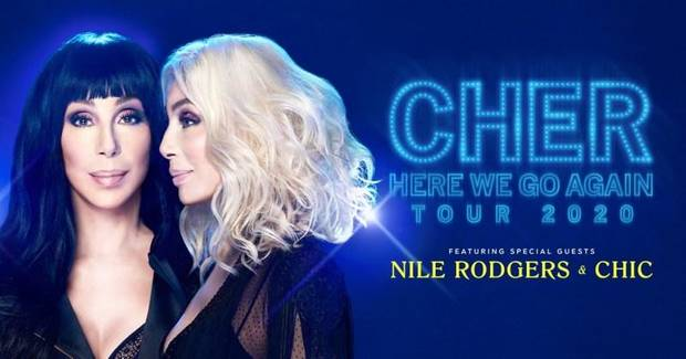 "Cher was slated to bring her 2020 ""Here We Go Again Tour"" to Oklahoma City's Chesapeake Energy Arena Thursday. [Poster image provided]"
