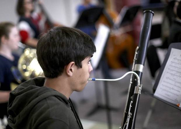Julian Guajardo plays the bassoon during practice with El Sistema Oklahoma at First Presbyterian Church of Oklahoma City in Oklahoma City, Thursday, Sept. 19, 2019. [Sarah Phipps/The Oklahoman]