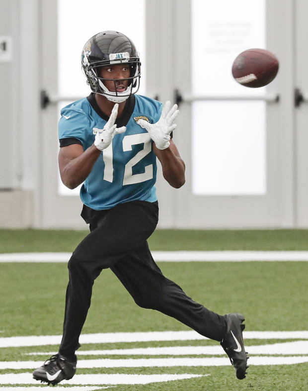 Jacksonville Jaguars wide receiver Dede Westbrook makes a reception during an NFL football practice, Thursday, June 13, 2019, in Jacksonville, Fla. (AP Photo/John Raoux)