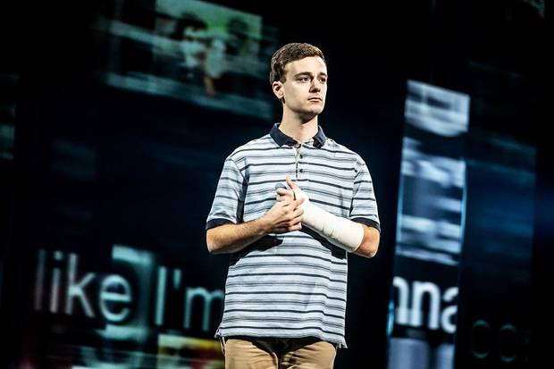 "Stephen Christopher Anthony stars as Evan Hansen in the North American touring company of ""Dear Evan Hansen."" [Photo by Matthew Murphy]"