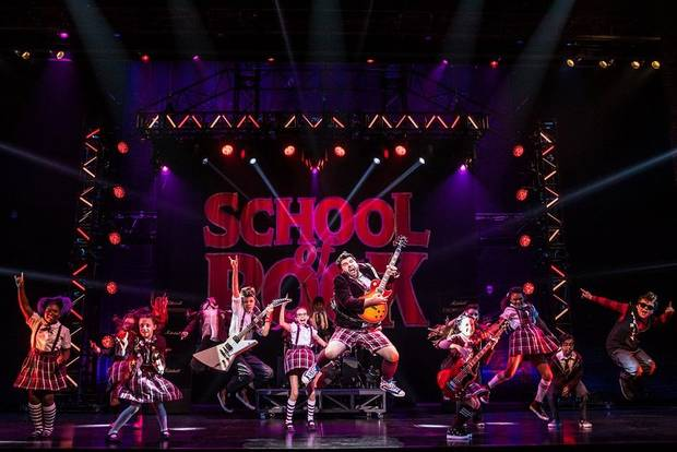 "Rob Colletti, foreground, leads the cast in the national tour of the musical ""School of Rock."" Photo provided by Matthew Murphy"