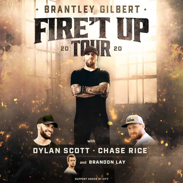 Brantley Gilbert Tour 2020.Brantley Gilbert Bringing 2020 Fire T Up Tour To Oklahoma