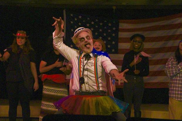 "At the 2019 Theatre Crude Fringe Festival, Kato Buss performs in ""The Gravel Road Show presents Oklahoma, USA!"" from the University of Central Oklahoma. [Photo by Abby Welch]"