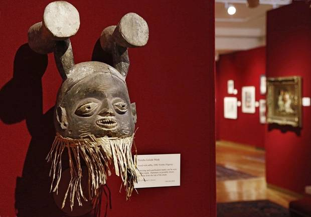 A Yoruba Gelede Mask from Nigeria is displayed at the Mabee-Gerrer Museum of Art Friday, Aug. 9, 2019. The Shawnee museum is celebrating its centennial in 2019. [Jim Beckel/The Oklahoman]