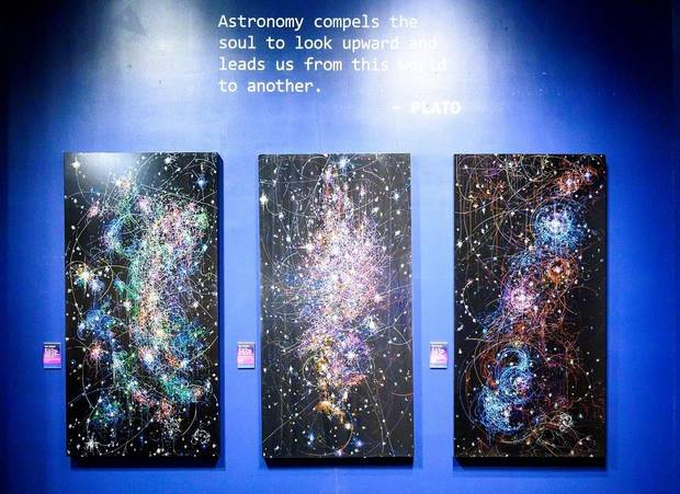 "Los Angeles artist Kysa Johnson's ""the long goodbye"" series uses the formula for subatomic decay to illustrate the life cycle of stars. Several of her works are featured in the exhibit ""Cosmic Culture: Intersections of Art and Outer Space"" at Science Museum Oklahoma. [Photo provided]"
