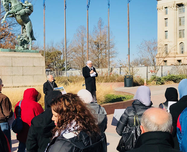"Imad Enchassi, senior imam of the Islamic Society of Greater Oklahoma City, speaks to a crowd gathered for the ""Jerusalem: Palestine's Forever Capital"" rally on Saturday, Dec. 16, at the State Capital. [Photo by Carla Hinton, The Oklahoman]"