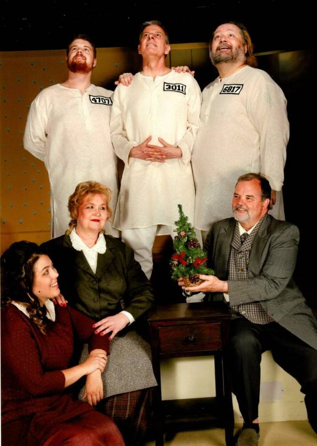 "Top row, from left, Derek Kenney, Doug Monson, James A .Gordon Jr., and bottom row, from left, Allyson Rose, Deborah Franklin and David Patterson, star in Jewel Box Theatre's 61st season closer, ""My Three Angels."" Performances continue through May 12. [Photo provided]"