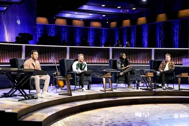 "From left, John Legend, Shane McAnally, Ester Dean and Ryan Tedder appear on ""Songland."" [Photo by Trae Patton/NBC]"