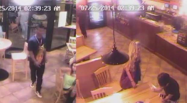 This screengrab from the Pickleman's Cafe surveillance video shows Joe Mixon at left and Amelia Molitor at right.