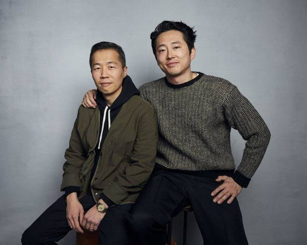 "Director Lee Isaac Chung, left, and Steven Yeun pose for a portrait to promote the film ""Minari"" at the Music Lodge during the Sundance Film Festival on Monday, Jan. 27, 2020, in Park City, Utah. [Photo by Taylor Jewell/Invision/AP]"