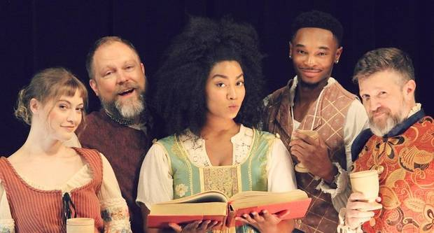 "From left, Kate Kemmet, Tyler Woods, Aiesha Watley, Darius Freeman and Chris Rodgers star in Oklahoma Shakespeare's state premiere production of Lauren Gunderson's ""The Book of Will."" [Photo by April Porterfield]"