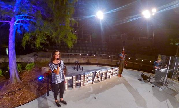 "University of Central Oklahoma students Skylar Hemenway, left, and Erica Burkett and music director and pianist Eric Grigg rehearse for the first week of Lyric Theatre's ""Lyric's Moonlight Cabaret"" on the Myriad Botanical Gardens Water Stage. [Photo provided]"
