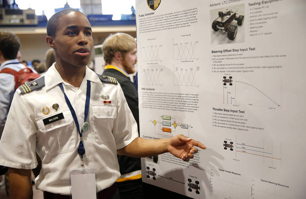 Cadet Brandon Wilson, of the United States Military Academy in West Point, New York, was among the thousands of students who shared their research at the 2018 National Conference on Undergraduate Research at the University of Central Oklahoma. [Photo by Sarah Phipps, The Oklahoman]
