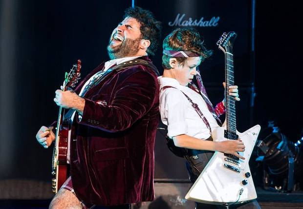 "Rob Colletti, left, and Phoenix Schuman appear in the national touring production of the musical ""School of Rock."" Photo provided by Matthew Murphy"