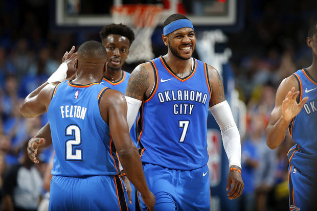 Raymond Felton, left, and Carmelo Anthony are the Thunder's oldest players at age 33. [PHOTO BY BRYAN TERRY, THE OKLAHOMAN]