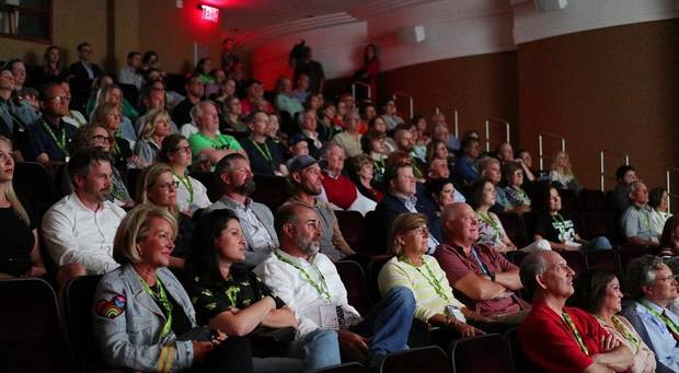 "An audience watches the documentary ""Jump Shot"" during opening night of the 2019 deadCenter Film Festival at the Oklahoma City Museum of Art's Noble Theater, Thursday, June 6, 2019. [Doug Hoke/The Oklahoman Archives]"