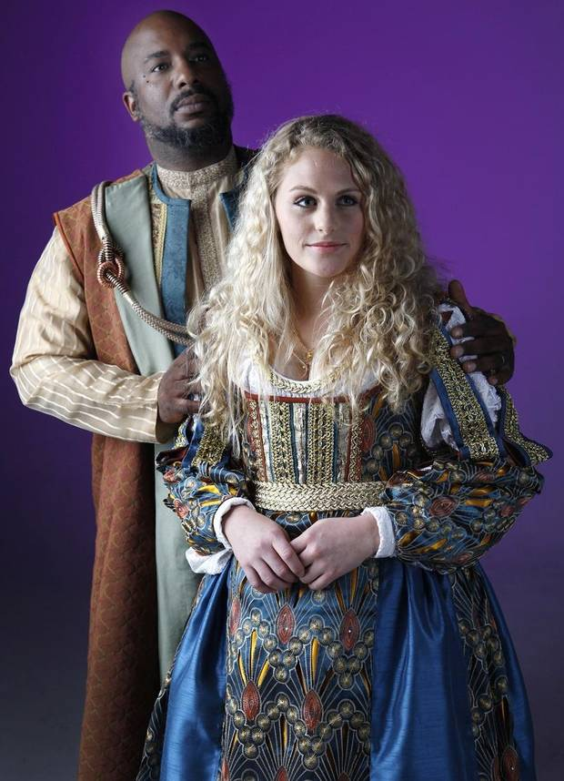 "W. Jerome Stevenson and Sophie Moshofsky starred in Oklahoma Shakespeare's 2012 production of ""Othello."" [The Oklahoman Archives]"