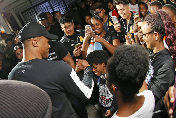 Russell Westbrook greets fans during a Why Not? Rally hosted by Westbrook and Jordan Brand at 8th Street Market in Oklahoma City, Monday, Oct. 16, 2017. Photo by Nate Billings, The Oklahoman