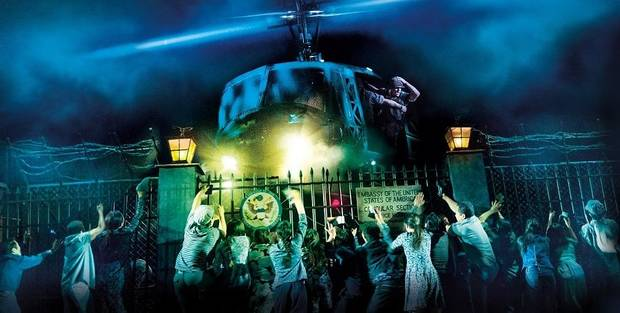 "The helicopter lands in the North American tour of ""Miss Saigon."" [Matthew Murphy and Johan Persson photo]"