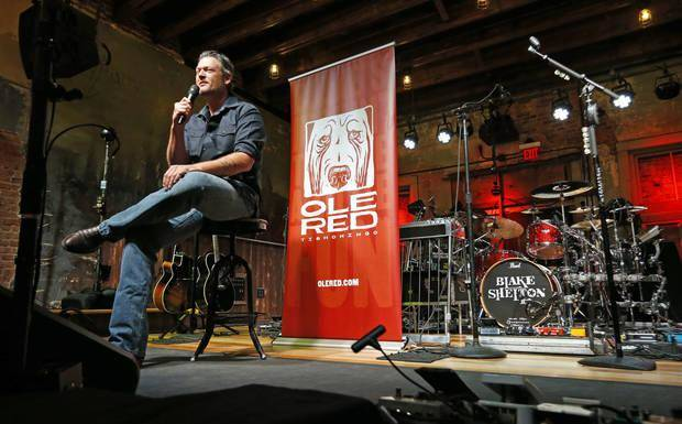 Entertainer Blake Shelton fields questions seated on the stage of his Ole Red restaurant/bar on Friday, Sept. 29, 2017 in Tishomingo, Okla. The Oklahoman Archives photo