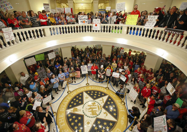 Teachers and supporters of increased education funding pack the first and second floors of the state Capitol during the second day of a walkout by Oklahoma teachers, Tuesday, April 3, 2018, in Oklahoma City. (Nate Billings/The Oklahoman)