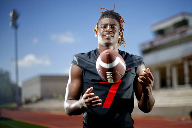 Del City's Sherrod Davis poses for a photo at Del City High School, Thursday, June 25, 2020. [Bryan Terry/The Oklahoman]